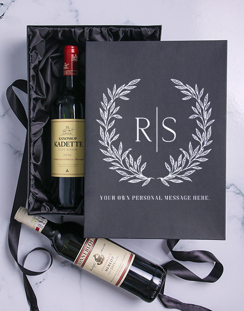 anniversary: Laurel Personalised Wine Duo Giftbox!