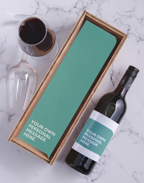 personalised: Turquoise Personalised Wine and Crate!