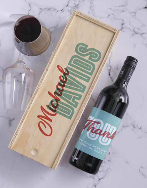 personalised: Thank You Personalised Wine and Crate!