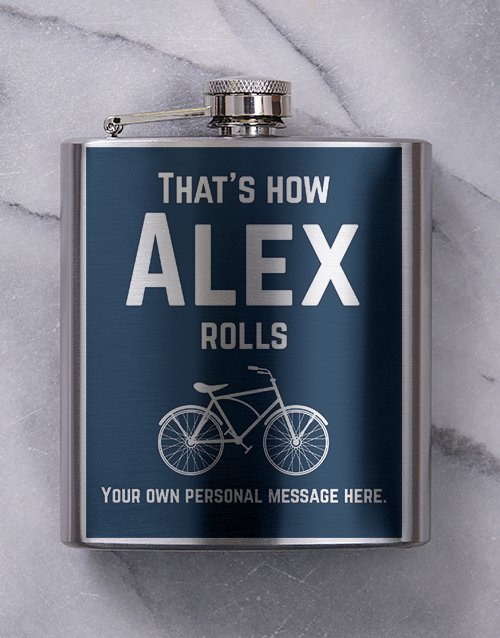 fine-alcohol: Personalised Bicycle Hipflask!