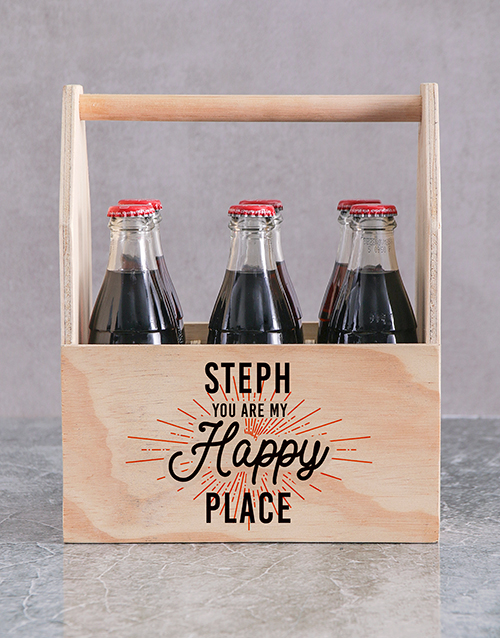 anniversary: Personalised Happy Place Printed Beer Crate!