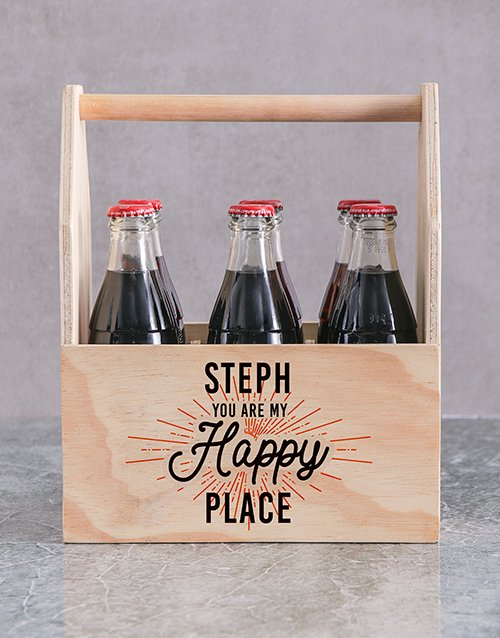 gifts: Personalised Happy Place Printed Beer Crate!