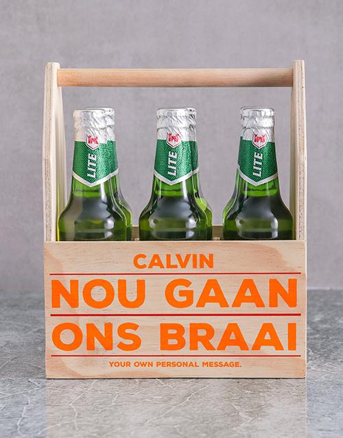 personalised: Personalised Braai Printed Beer Crate!