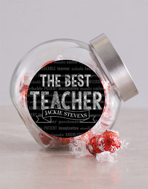 teachers-day: Personalised Chalk Best Teacher Candy Jar!