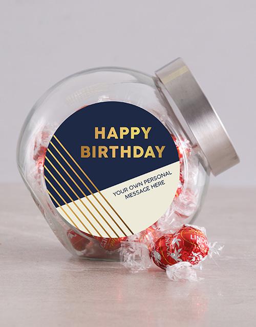 birthday: Personalised Gold Happy Birthday Candy Jar!