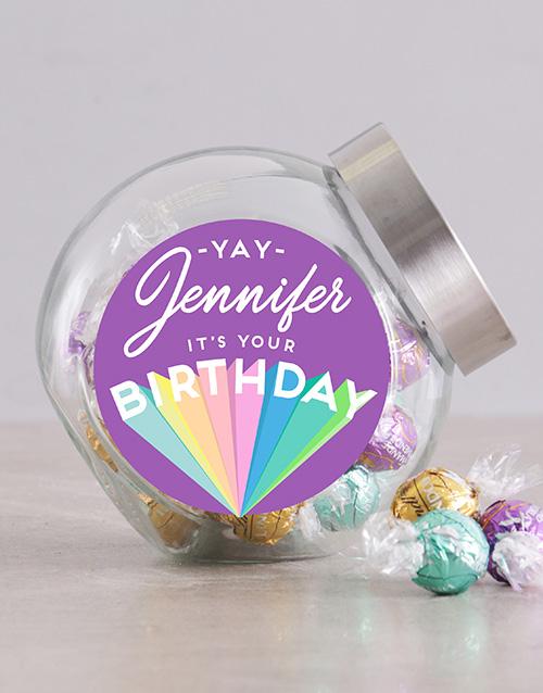 candy-jars: Personalised Rainbow Birthday Candy Jar!