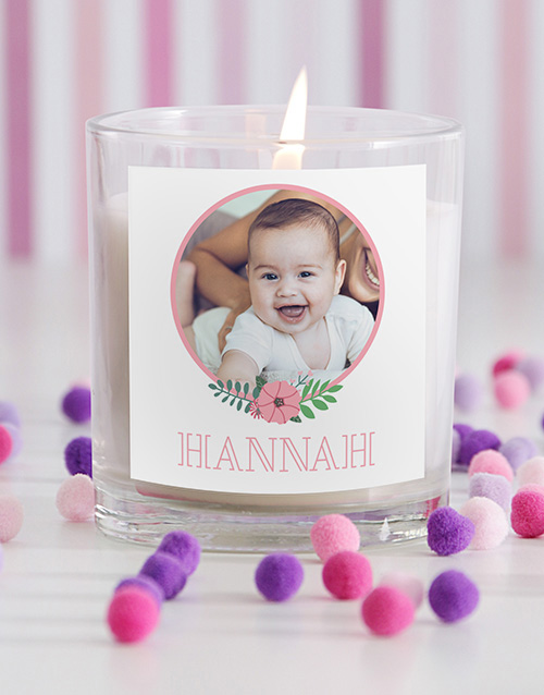 baby: Personalised Baby Girl Photo Candle in Gift Box!
