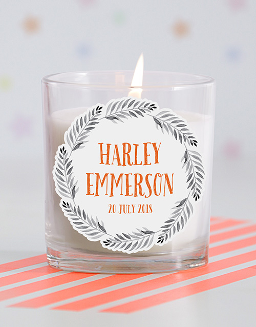 personalised: Personalised Name in Fronds Baby Candle!