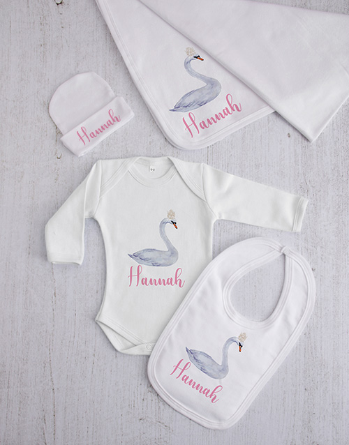 baby: Personalised Swan Princess Clothing Gift Set!