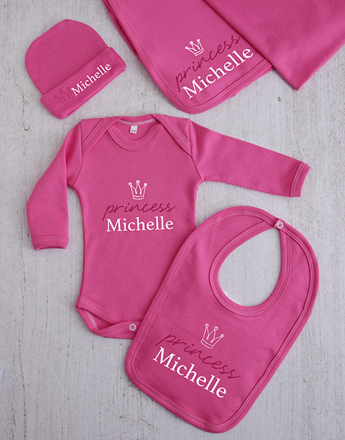 baby: Personalised Princess Crown Clothing Gift Set!