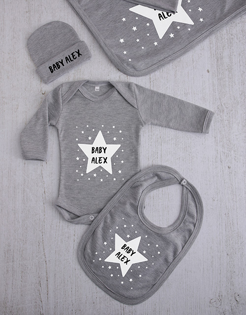 baby: Personalised Stars Clothing Gift Set!