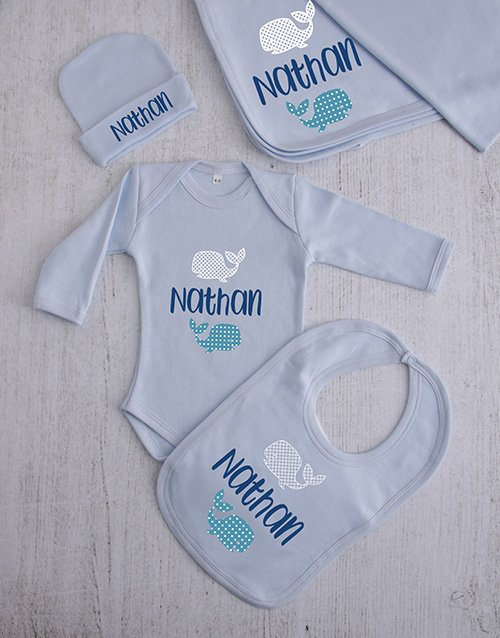 baby: Personalised Whale Clothing Gift Set!