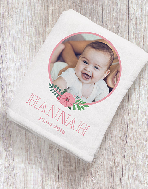 gifts: Personalised Floral Photo Fleece Blanket!