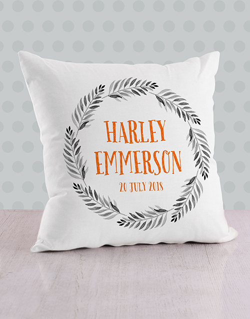baby: Personalised Name in Fronds Baby Scatter Cushion!