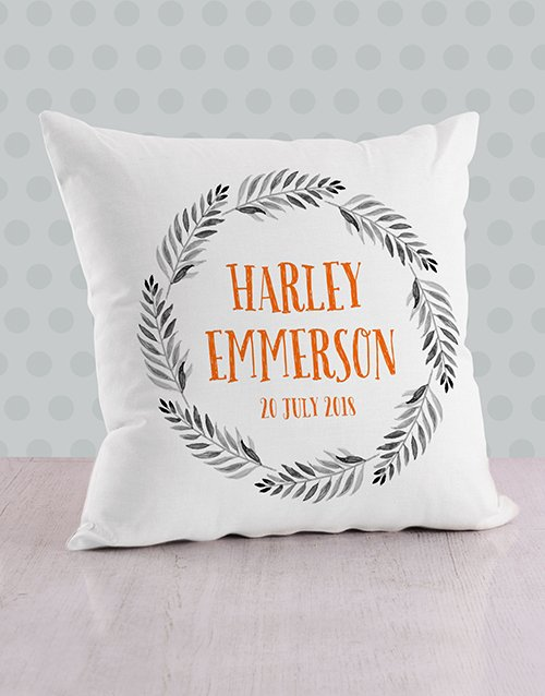 personalised: Personalised Name in Fronds Baby Scatter Cushion!