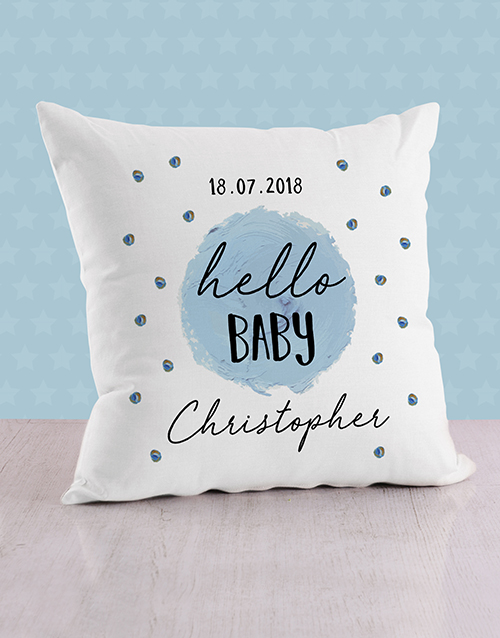 baby: Personalised Blue Dots Baby Scatter Cushion!