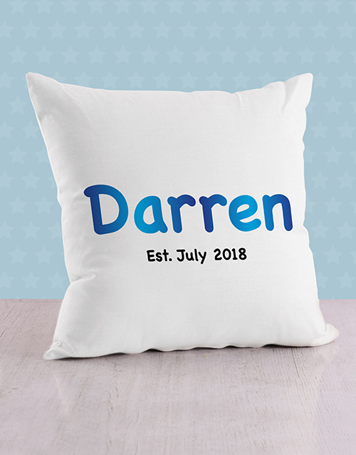 personalised: Personalised Blue Baby Name and Date Cushion!