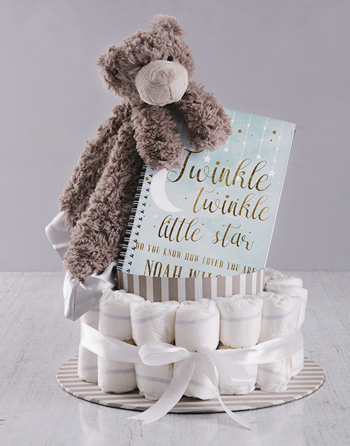 teddy-bears: Personalised Babys First Year Nappy Cake!