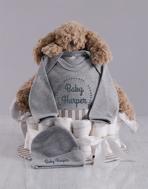 baby: Personalised Grey Nappy Cake!