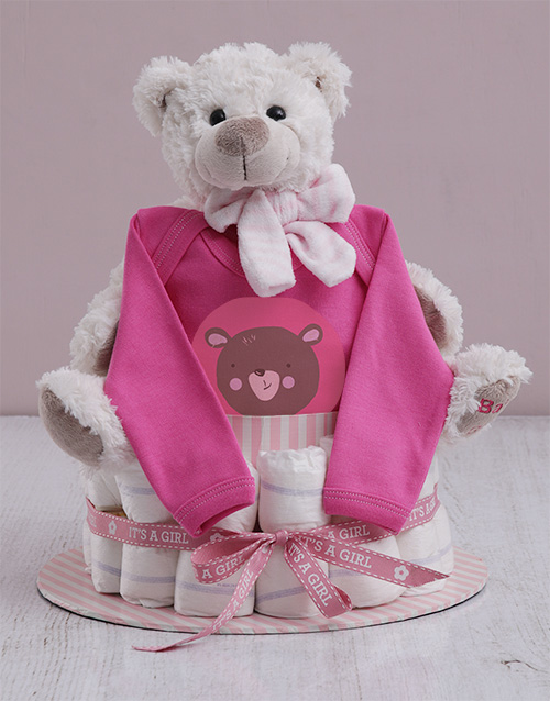 baby: Personalised Girl Nappy Cake!