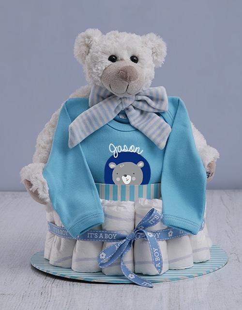 baby: Personalised Boy Nappy Cake!