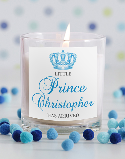 personalised: Little Prince New Baby Candle!