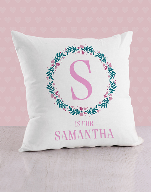personalised: Personalised Initial in Flora Baby Scatter Cushion!