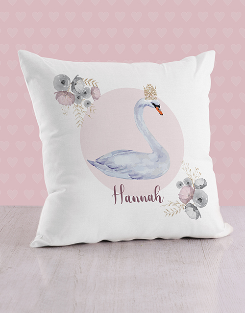 personalised: Personalised Swan Princess Baby Scatter Cushion!