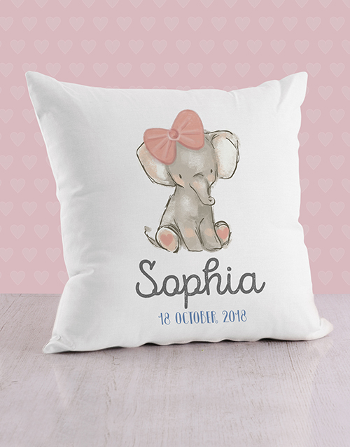 personalised: Personalised Pink Elephant Baby Scatter Cushion!