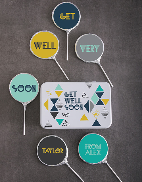 chocolate: Personalised Choc Get Soon Well Lollipops!