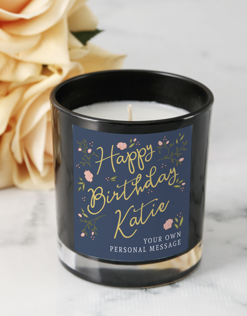 birthday: Personalised Rose Happy Birthday Black Candle!