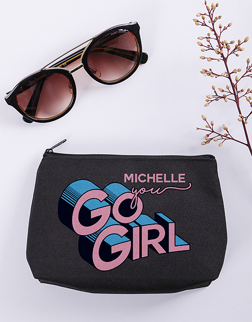 birthday: Personalised You Go Girl Cosmetic Bag!