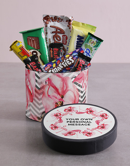 mothers-day: Personalised Flamingo Hat Box with Treats!