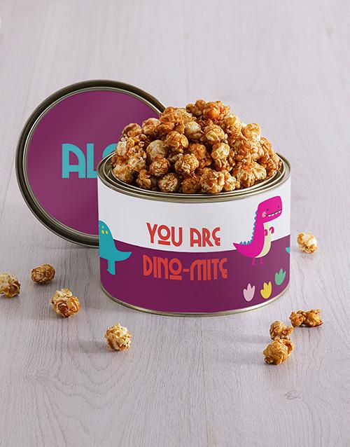 personalised: Personalised Dino Mite Popcorn Tin!
