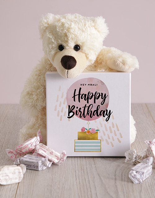 teddy-bears: Personalised Happy Birthday Box of Nougat!