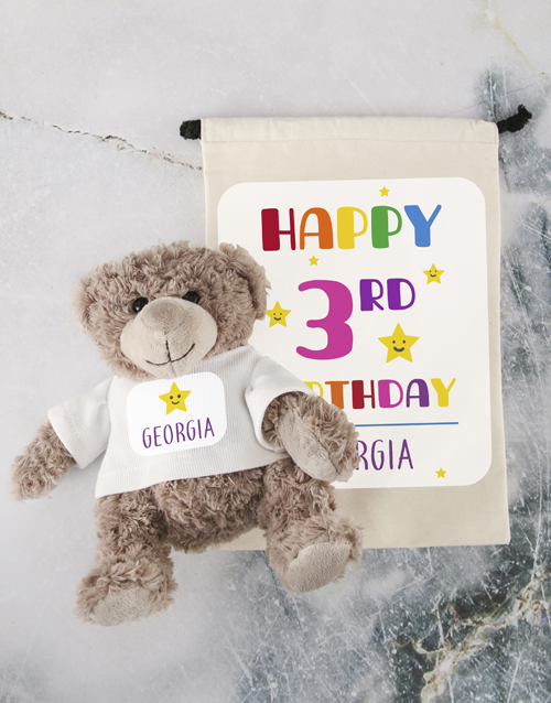 teddy-bears: Teddy in Birthday Drawstring Bag!