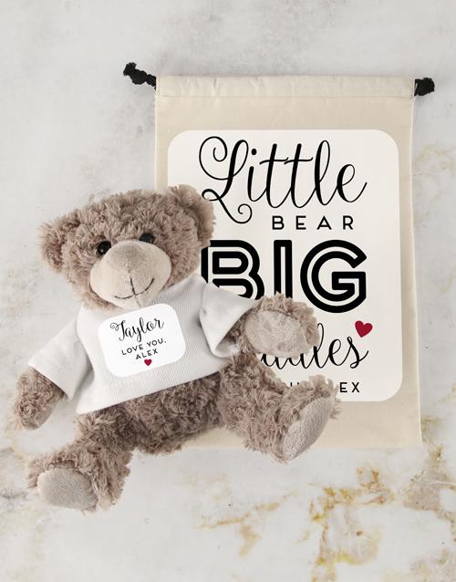 teddy-bears: Teddy in Cuddles Drawstring Bag!