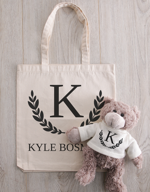 gifts: Teddy in Personalised Initial Crest Tote!