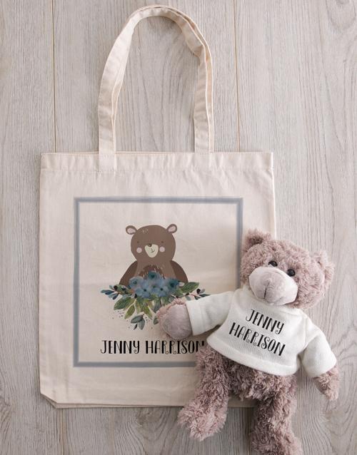 teddy-bears: Teddy in Personalised Bear Tote!