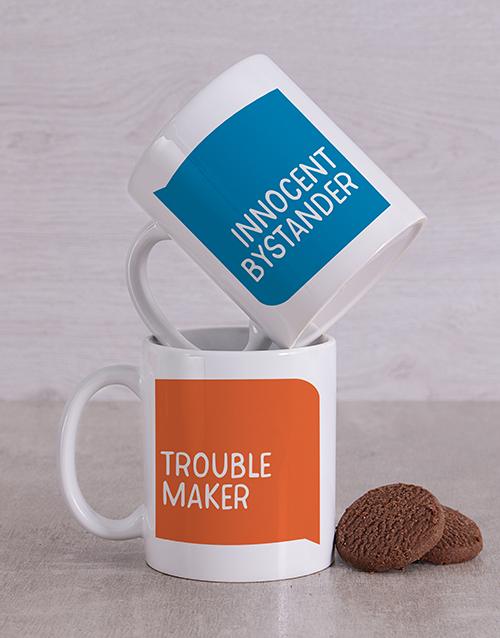 homeware: Personalised Trouble Maker Mug Set!