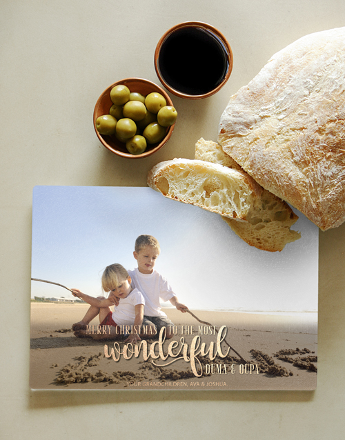 homeware: Personalised Oupa And Ouma Glass Chopping Board !