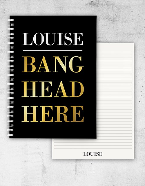 personalised: Personalised Bang Head Here Notebook!