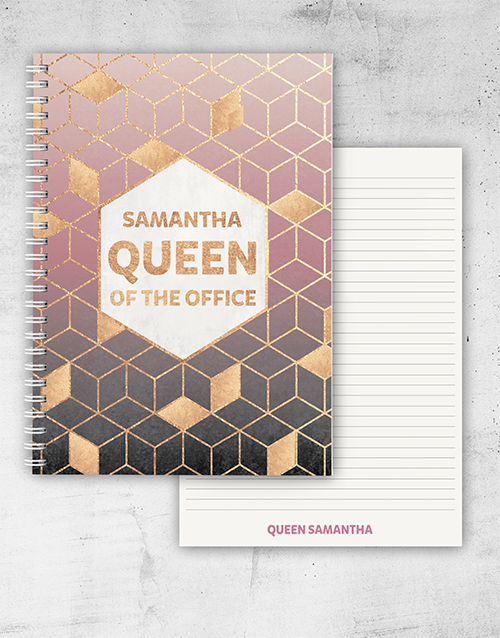 bosses-day: Personalised Queen Of The Office Notebook!