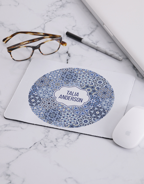 friendship: Personalised Blue Marrakesh Mouse Pad!