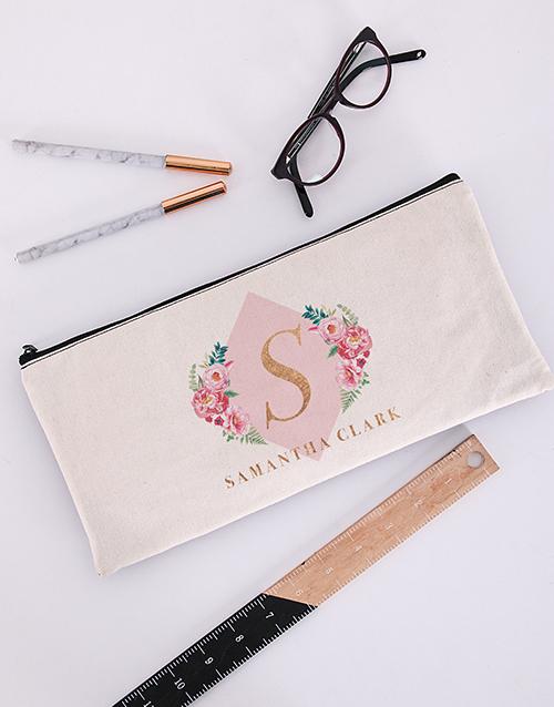 bosses-day: Personalised Floral Initial Pencil Bag!