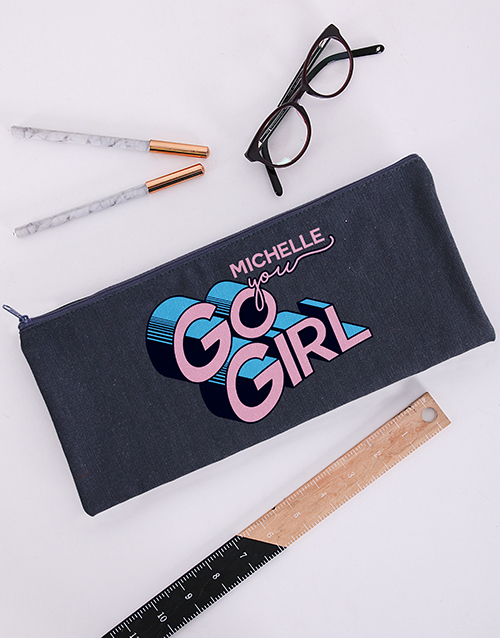 good-luck: Personalised You Go Girl Pencil Bag!