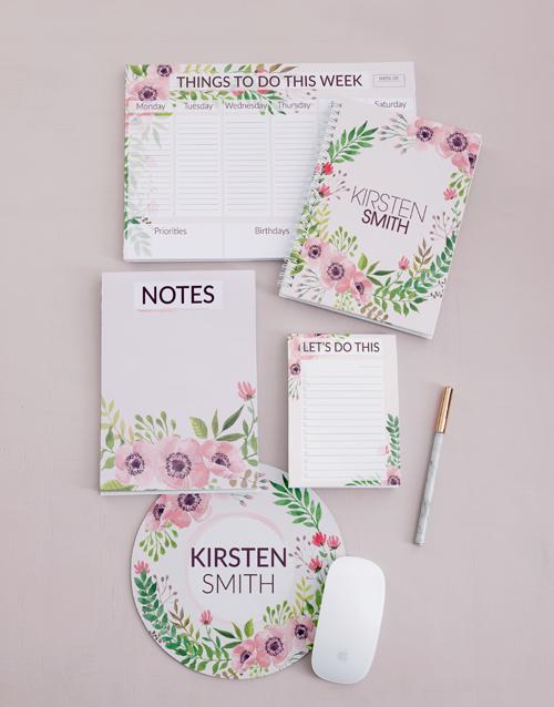 year-end: Personalised Floral Wonder Take Note Set!