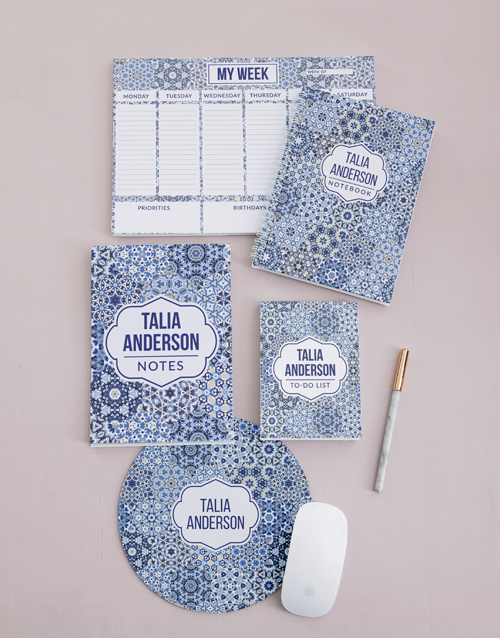 friendship: Personalised Blue Marrakesh Take Note Set!