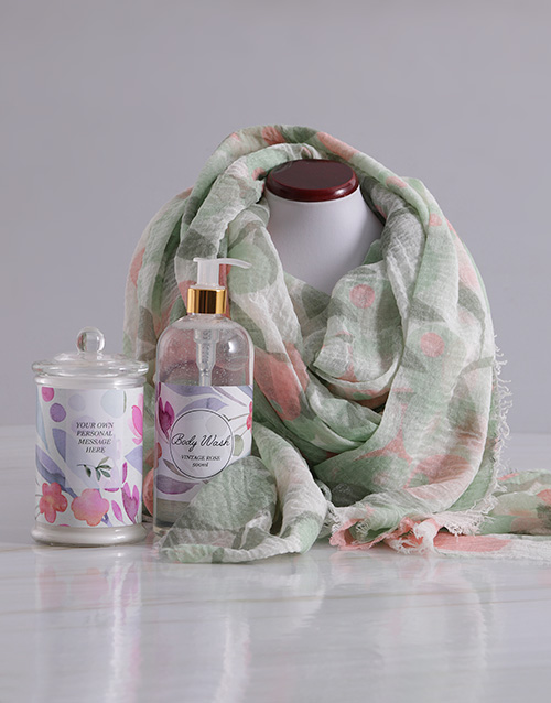 year-end: Personalised Scarf and Pink Floral Bath Gift Set!