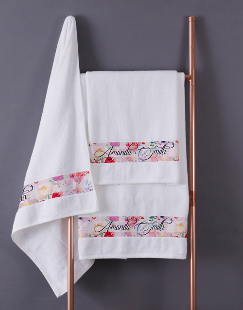 personalised: Personalised Floral Blossoms White Towel Set!